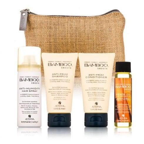 Alterna Bamboo Smooth On The Go Kit Gift Set 40ml Shampoo + 40ml Conditioner + 25ml Treatment Oil + 43g Anti-Humidity Spray + Bag