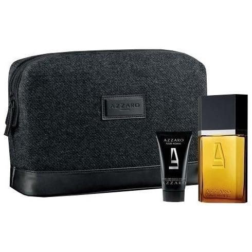 Azzaro HOMME EDT 100ML & HAIR/BODY SHAMPOO 50ML & TOILETRY BAG