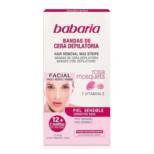 Babaria Rosa Mosqueta Hair Removal Strips Sensitive Skin 12 Units
