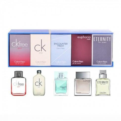 Calvin Klein Men Miniatures Gift Set 5x 10ml Euphoria Men EDT + 10ml CK 1 EDT + 10ml Eternity Men EDT + 10ml CK 2 EDT + 10ml CK Free EDT