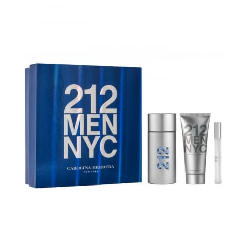 Carolina Herrera 212 Men EDT Spray 100ml Set 3 Pieces 2017