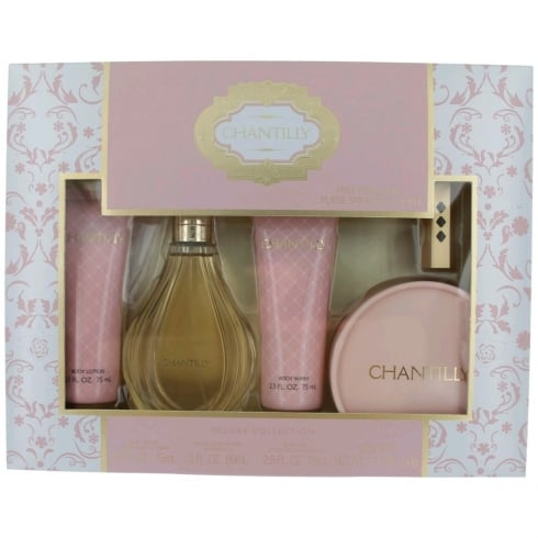 Dana Chantilly Gift Set 90ml EDT + 52.5g Dusting Powder + 75ml Body Lotion + 75ml Shower Gel