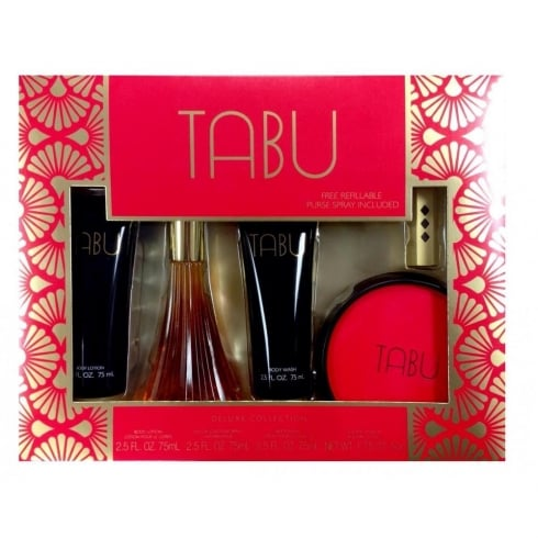 Dana Tabu Gift Set 75ml EDC + 75ml Body Lotion + 75ml Body Wash + 52.5ml Dusting Powder