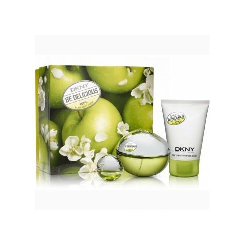 DKNY DKNY Be Delicious Gift Set 100ml EDP Spray + 100ml Body ...
