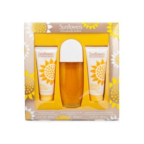 Elizabeth Arden Sunflowers Gift Set 100ml EDT Spray + 100ml Body Lotion + 100ml Body Cream