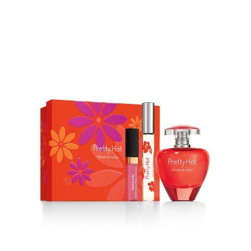 Elizabeth Arden Pretty Hot Gift Set 50ml EDP + Lip Gloss 4ml + Roller Ball Parfum 10ml