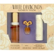 Elizabeth Taylor White Diamonds Gift Set 30ml EDT + 3.7ml Parfum +  28g Satin Body Talc