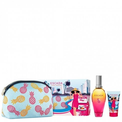 Escada Miami Blossom Giftset Edt Spray 100ml/Body Lotion 150ml/Pouch