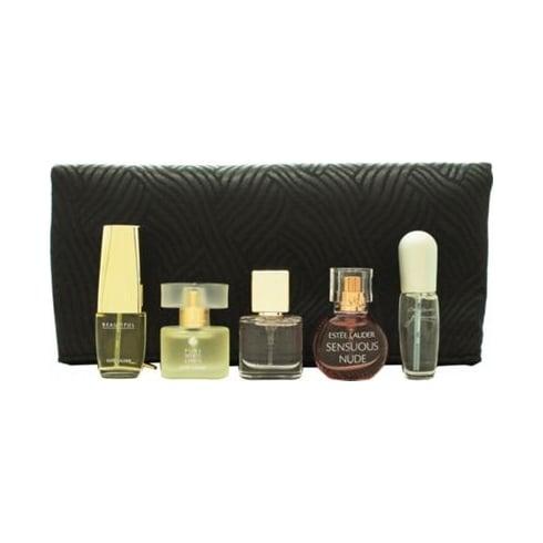 Estee Lauder Mini Set Gift Set 4ml Pleasures + 4ml Moderne Muse + 4.7ml Beautiful + 4ml Sensuous Nude + 4ml Pure White Linen + Cosmetics Bag