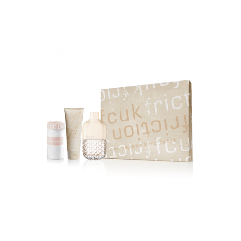FCUK Friction 100ml EDP Spray/ Body Scrub 100ml and Body Lotion 100ml Gift Set