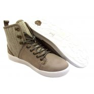 Feud Britannia Feud Mens Sunseeker Grey Leather & Textile Lace Up