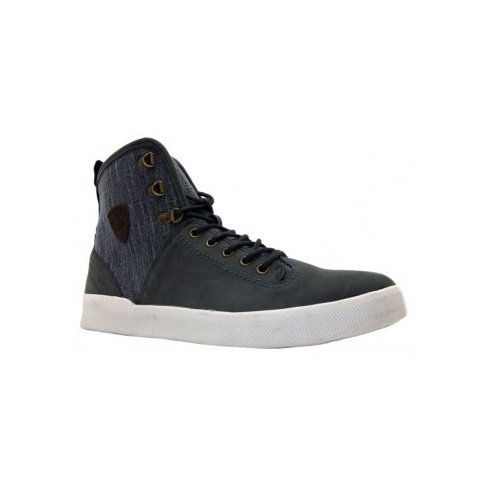 Feud Britannia Feud Mens Sunseeker Navy Blue Leather & Textile Lace Up