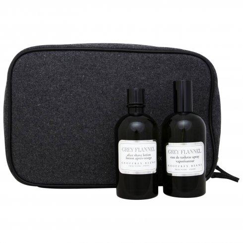 Geoffrey Beene Grey Flannel 120ml EDT Spray / 120ml After Shave / Toiletry Bag