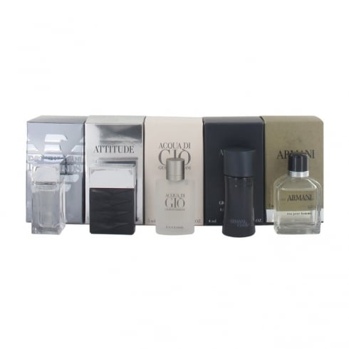 Giorgio Armani Miniatures Gift Set 4ml Emporio Diamonds EDT + 5ml Attitude EDT + 5ml Acqua di Gio EDT + 4ml Code EDT + 7ml Armani Eau EDT