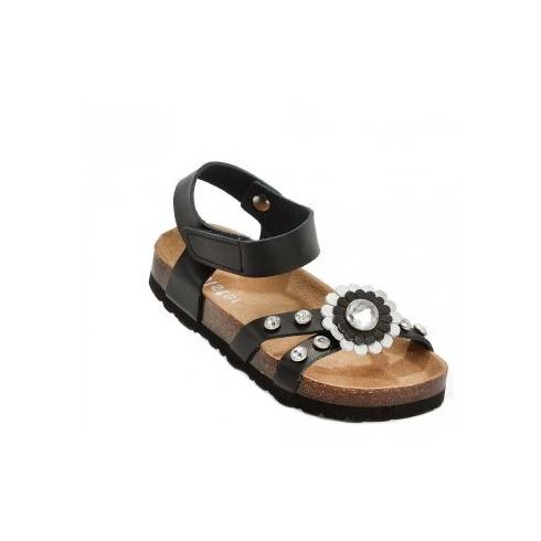 Holster Kids Leather & Micro-Fibre Sandal - Black