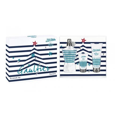 Jean Paul Gaultier Le Beau Male Gift Set 125ml EDT Spray + 75ml Shower Gel + 30ml Aftershave Balm