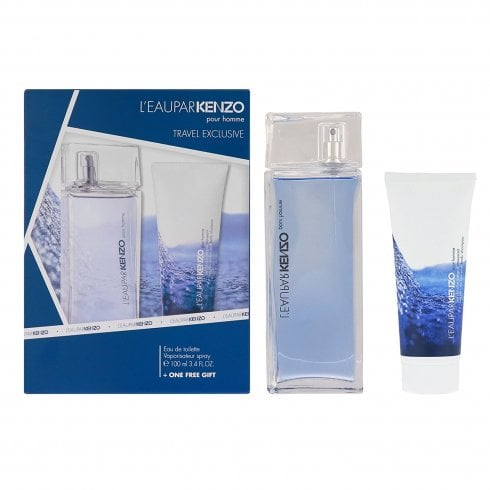 Kenzo L'Eau par Kenzo pour Homme Gift Set 50ml EDT + 50ml Hair and Body Shampoo + Bag