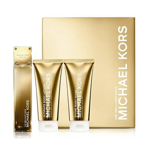Michael Kors 24K Brilliant Gold Gift Set 50ml EDP + 100ml Body Wash + 100ml Body Lotion