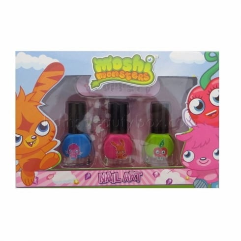 Moshi Monsters Nail Art Gift Set 3 x Nail Polish + Nail File + Nail Stickers