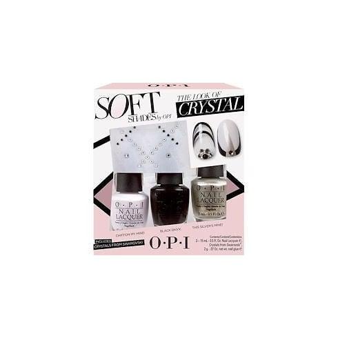 OPI Nail Polish The Look of Crystal Soft Shades Gift Set 15ml Chiffon My Mind + 15ml Black Onyx + 15ml This Silver's Mine! + Swarovski Crystals + 2g Nail Glue