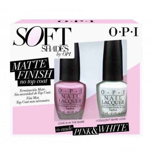 OPI SOFT SHADES MATT PINK + WHITE  DUO 2 X 15ML