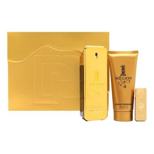 Paco Rabanne 1 Million Gift Set 100ml EDT + 5ml EDT + 100ml Shower Gel