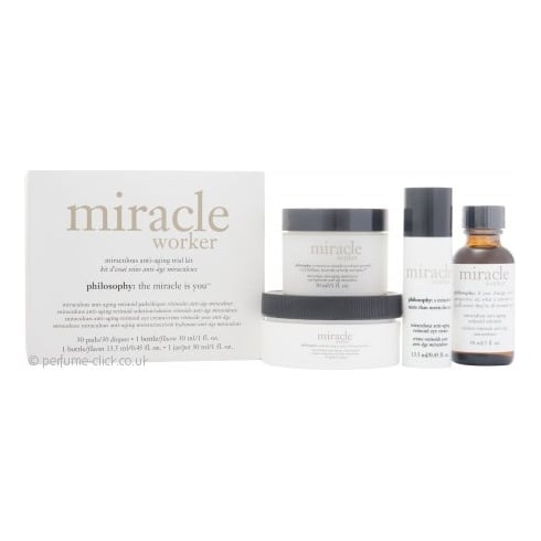 Philosophy Miracle Worker Gift Set Miraculous Anti-Aging Trial Kit - 30ml Moisturizer + 30ml Retinoid Solution + 30 Retinoid Pads + 13.5ml Retinoid Eye Cream