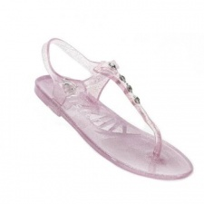 Holster Kids Glitter T-Bar Jelly Sandals - Rose Pink