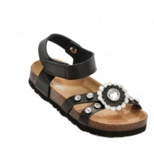 Holster Kids Leather & Micro-Fibre Sandal - Black
