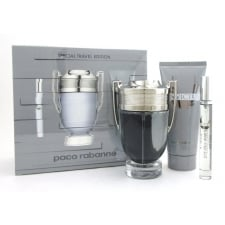 Paco Rabanne Invictus Gift Set 100ml EDT Spray + 100ml Shower Gel + Mini 10ml EDT