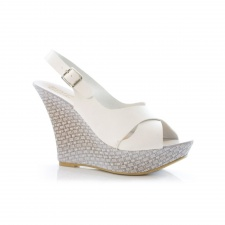 Unze Ladies Mariah White Wedges