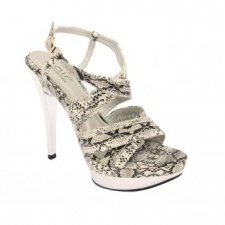 Unze Ladies Snake Print Shoes - White