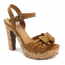 Xti Ladies Cork Sandals - Camel - 25149