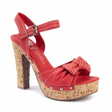 Xti Ladies Cork Sandals - Red - 25149