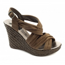 Xti Ladies Wedge Sandals - Brown - 25221