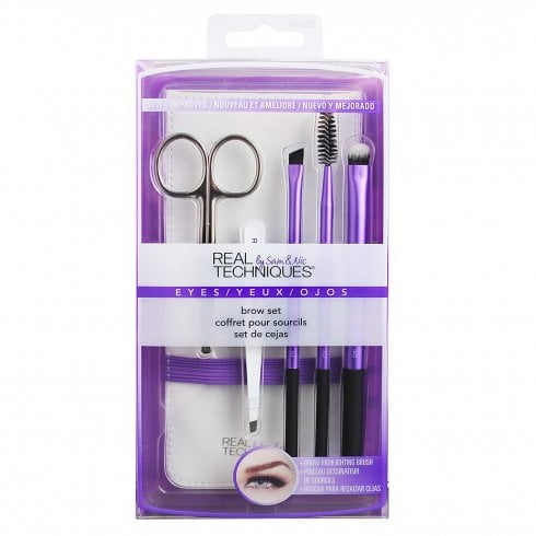 Real Techniques Rt Eye Brow Set: Brow Scissors & Angled Tweezers & 2 X Brushes &