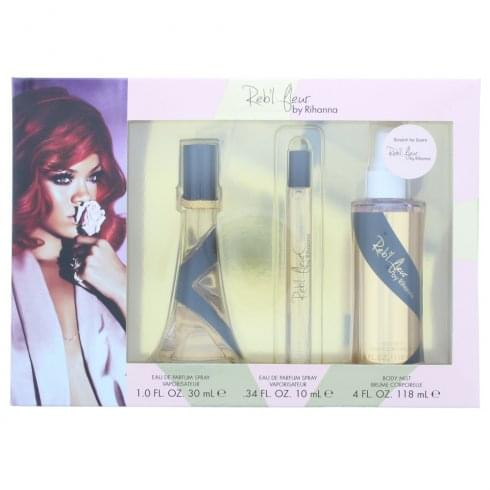 Rihanna Reb'l Fleur Gift Set 30ml EDP + 10ml EDP + 118ml EDT Body Spray