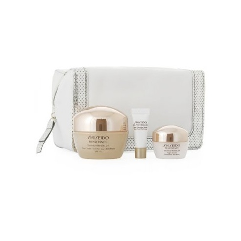 Shiseido Benefiance Wrinkle Resist 24 Anti-Age Set (24 Day Cream SPF15 50ml / 24 Night Cream 10ml / Bio-Performance Super Corrective Serum 2ml / Pouch)