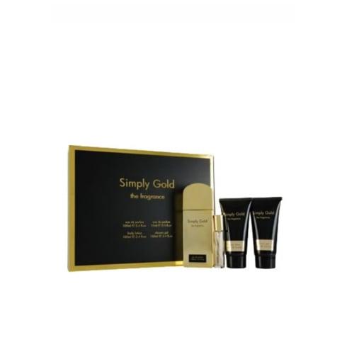 Simply Gold The Fragrance Gift Set 100ml EDP + 100ml Body Lotion + 100ml Shower Gel + 15ml Purse Spray