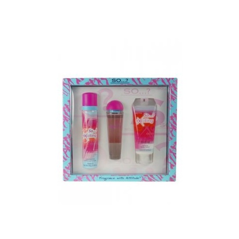 SO Exciting Gift Set 50ml EDT Spray + 100ml Body Lotion + 75ml Body Scrub