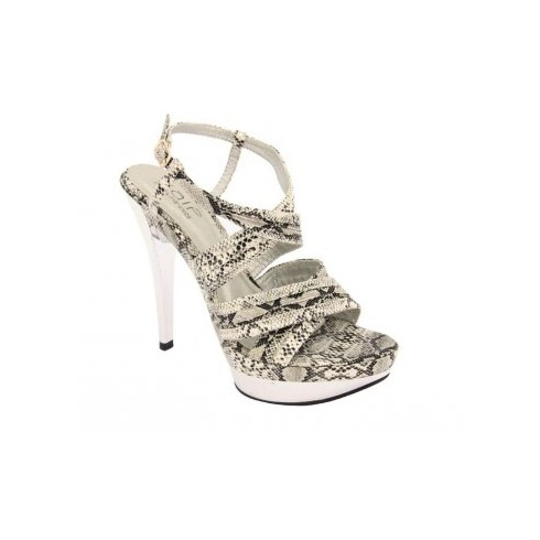 Unze Ladies Snake Print Shoes - White