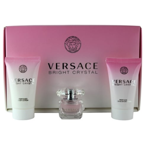 Versace Bright Crystal Gift Set 5ml EDT + 25ml Body Lotion + 25ml Shower Gel