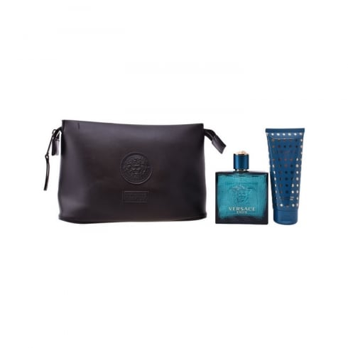 Versace Eros 100ml EDT Spray / 100ml Shower Gel / Wash Bag