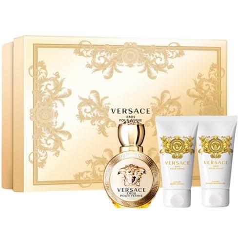 Versace Eros Pour Femme Gift Set - EDP 50ml + Shower Gel 50ml + Body Milk 50ml