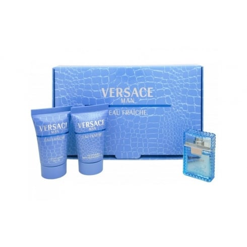 Versace Man Eau Fraiche Gift Set 5ml EDT + 25ml Shower Gel + 25ml Aftershave Balm