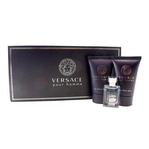 Versace Pour Homme Gift Set 5ml EDT + 25ml Hair & Body Shampoo + 25ml Aftershave Balm