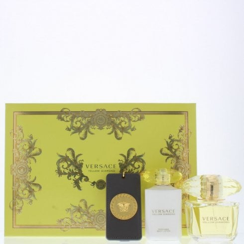 Versace Yellow Diamond Gift Set 90ml EDT + 100ml Body Lotion + Bag Tag