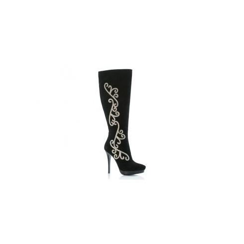 Unze Women Boots Knee High Boots (Evening)- Black