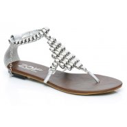 Unze Women Sandals Casual Flat Sandals - Silver