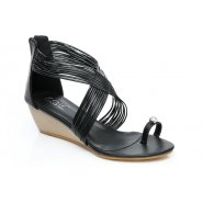 Unze Women Sandals Casual Wedges - Black